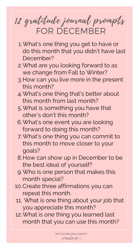 Gratitude Journal Prompts for December