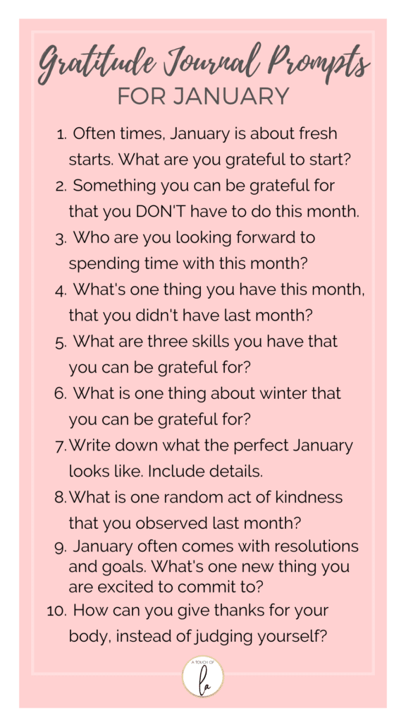 Gratitude Prompts for January