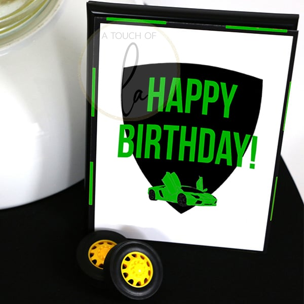 Green Supercar Party Happy Birthday Sign 5 x 7