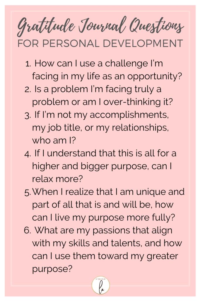 Gratitude Journal Questions for Personal Development