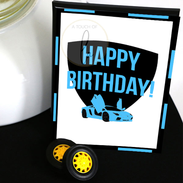 Blue Supercar Happy Birthday Sign